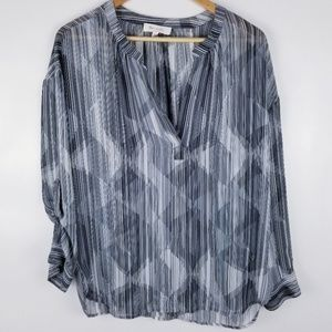 Two x Vince Camuto Small Long Sleeve Striped Top